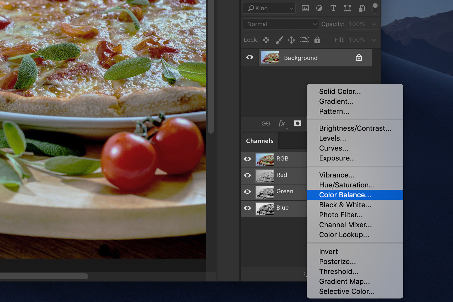 A screenshot showing how to edit food photography in Photoshop - color balance