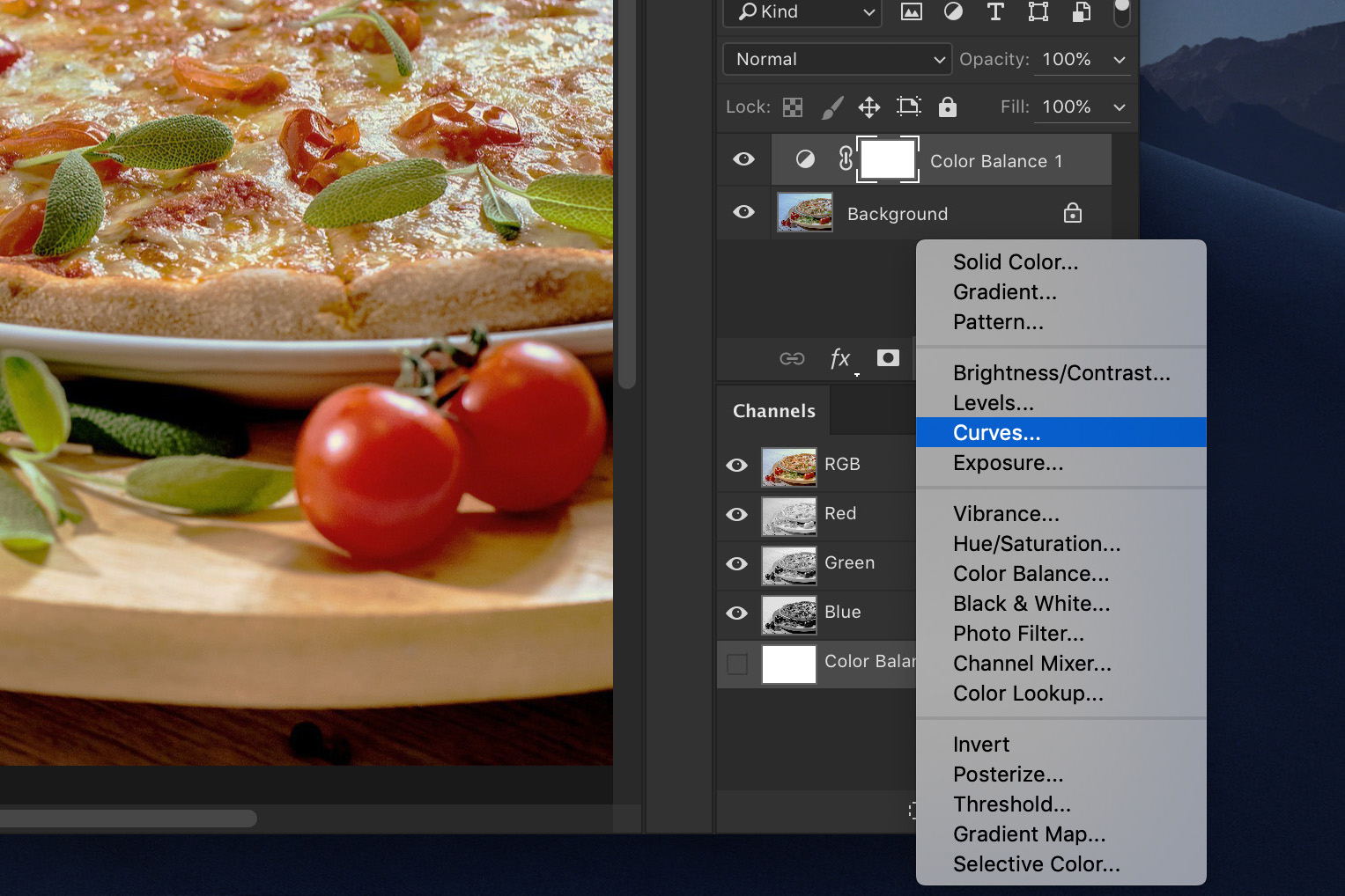 A screenshot showing how to edit food photography in Photoshop - add contrast
