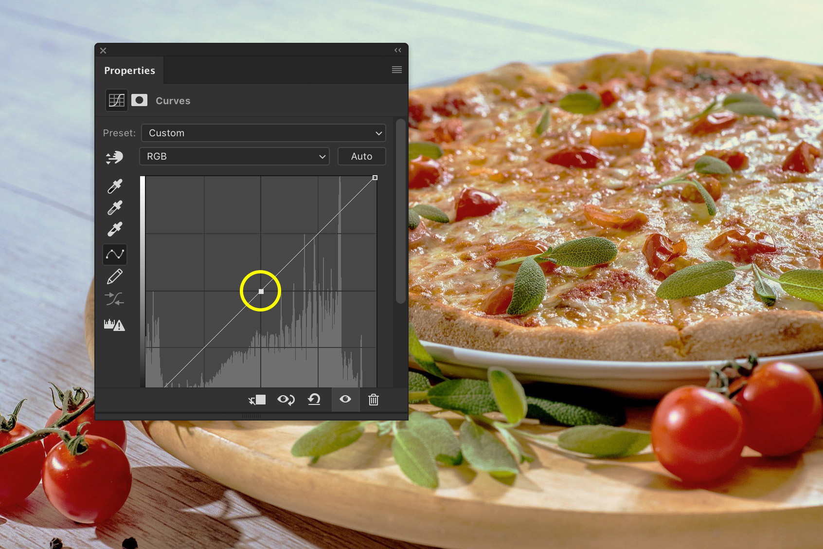 A screenshot showing how to edit food photography in Photoshop - set anchor point