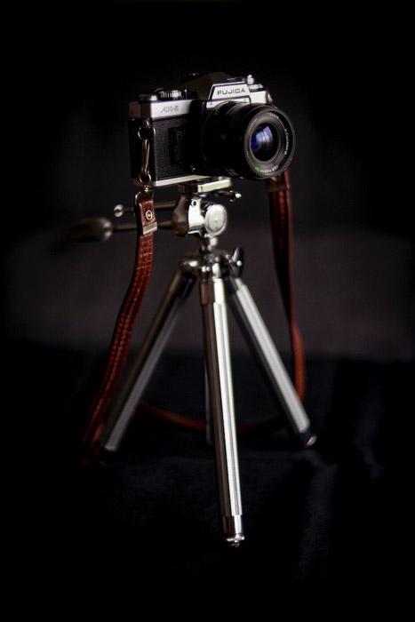 A Fujica camera on a tripod - food styling tricks