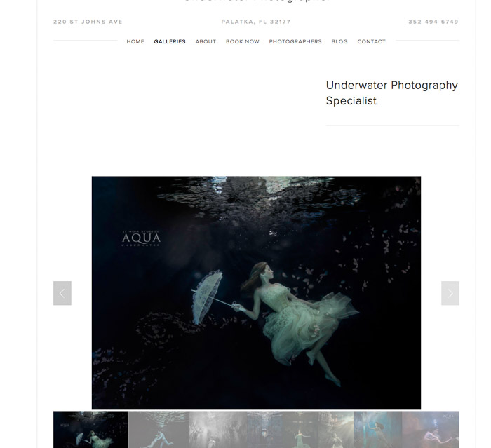 A screenshot of a mermaid photography website