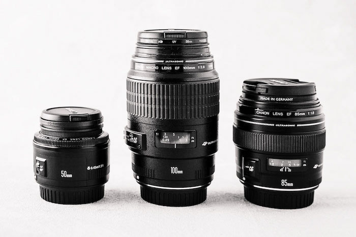 Three different photography lenses on white background - photography business equipment