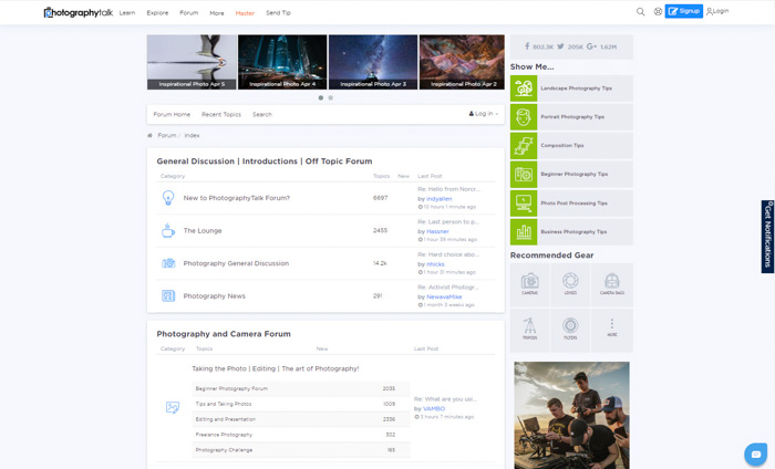 A screenshot of the Photography Talk homepage - best photography forums