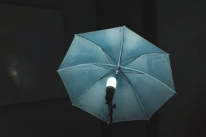 A photography umbrella setup for studio photography