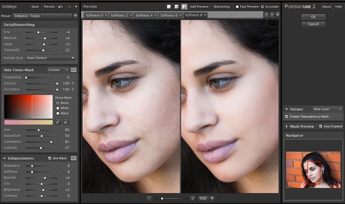 screenshot of Portraiture interface - Best Photoshop Plugins