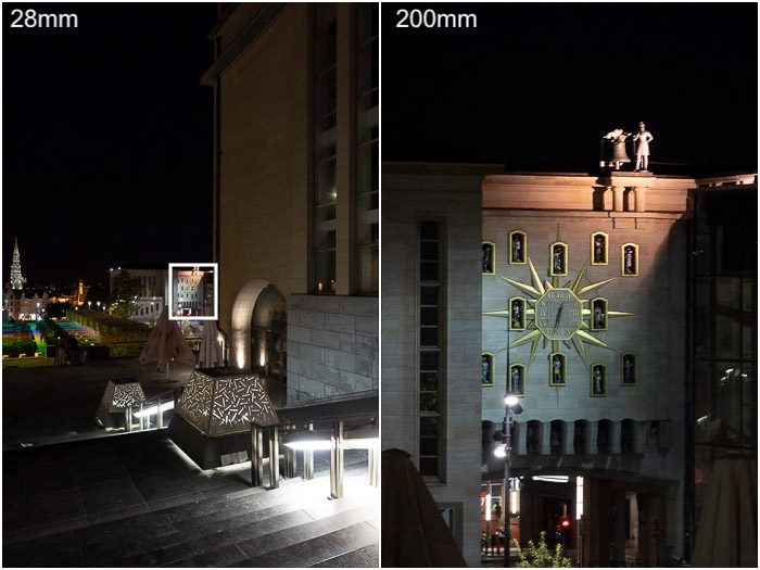 A travel photography diptych of a building at night comparing use of a 28mm and 200mm lens