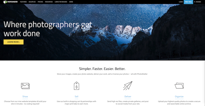 A screenshot of the Photoshelter homepage - best website builder for photography