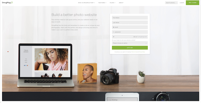 A screenshot of the Smugmug homepage - best website builder for photography