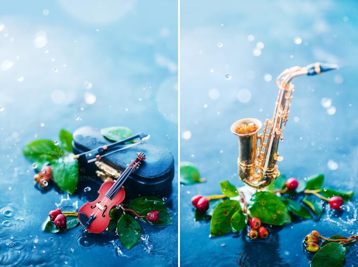 A rainy diptych of a musical themed still life - spring photos ideas