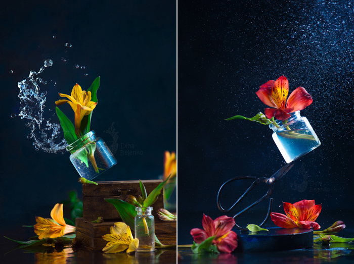 A rainy diptych of glass jar of flowers falling - spring photos ideas