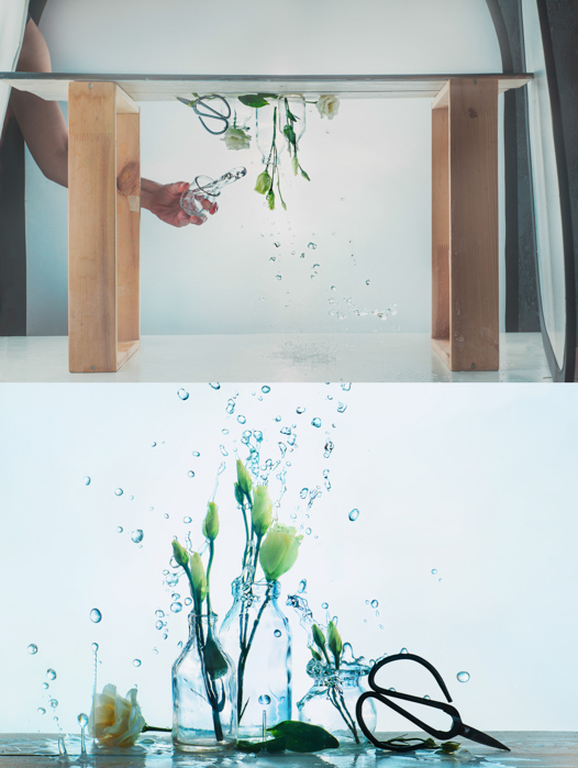 A creative still life diptych of flowers in glass bottles with water splashes, and setup photo - spring photos ideas