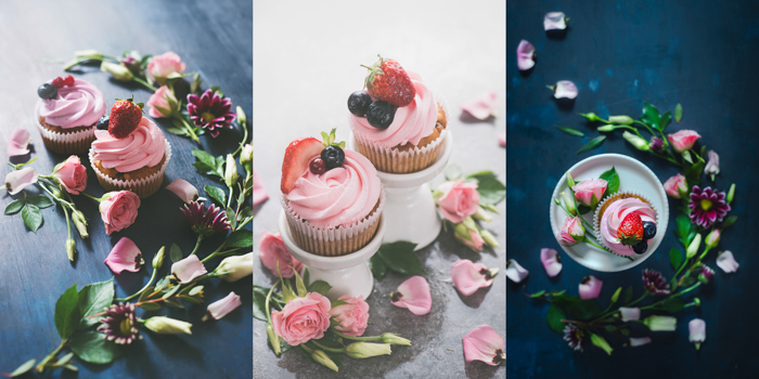 Cute food themed still life featuring cupcakes and flowers - spring photography ideas