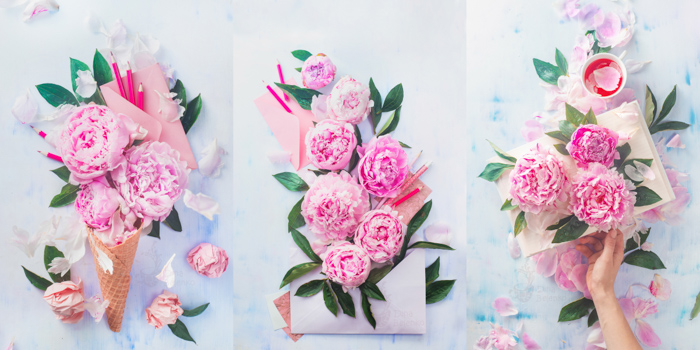 Cool still life triptychs featuring roses and stationary - spring photography ideas