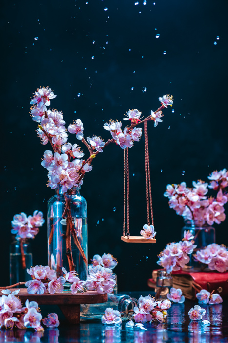 Cool still life featuring cherry blossoms - spring photography ideas