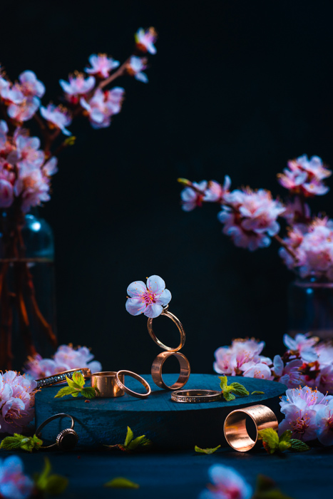 Cool still life combining cherry blossom with jewelry theme - spring photography ideas