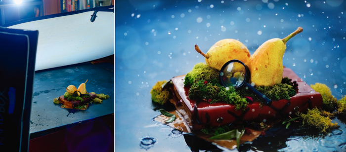 A diptych showing a food themed still life and setup