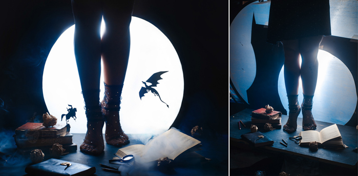 Creative occult themed still life diptych shot with a speedlight