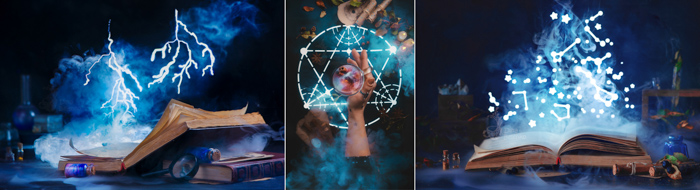 Creative occult themed still life triptych shot with a speedlight