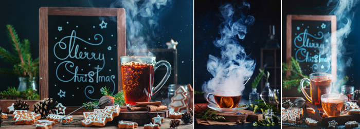 Creative christmas themed still life triptych shot with a speedlight