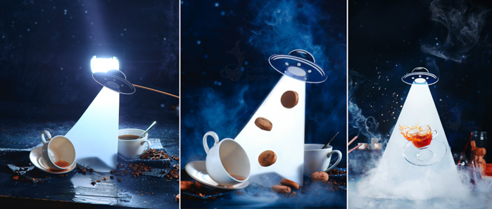 Creative UFO themed still life triptych shot with a speedlight
