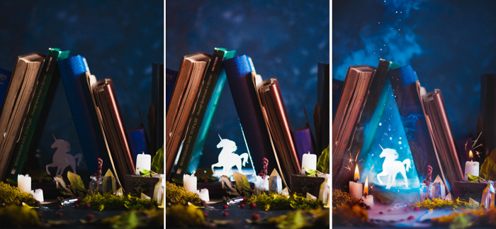 Creative fantasy themed still life triptych shot with a speedlight