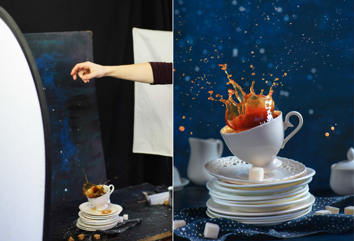 Creative coffee themed diptych of the still life setup and final result shot with a speedlight