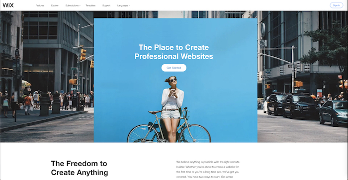 A screenshot of the Wix homepage - best website builder for photography