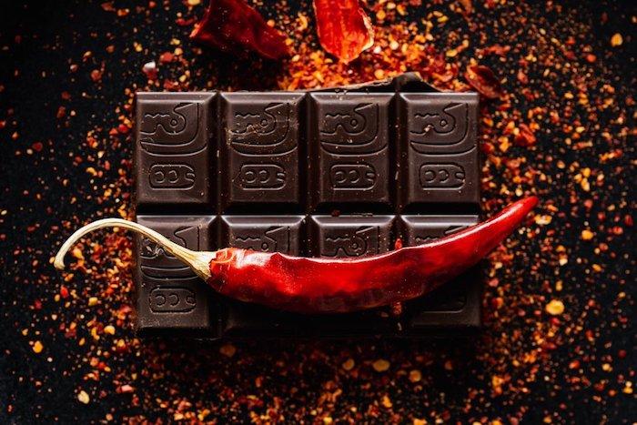 Chocolate photgraphy with a chili