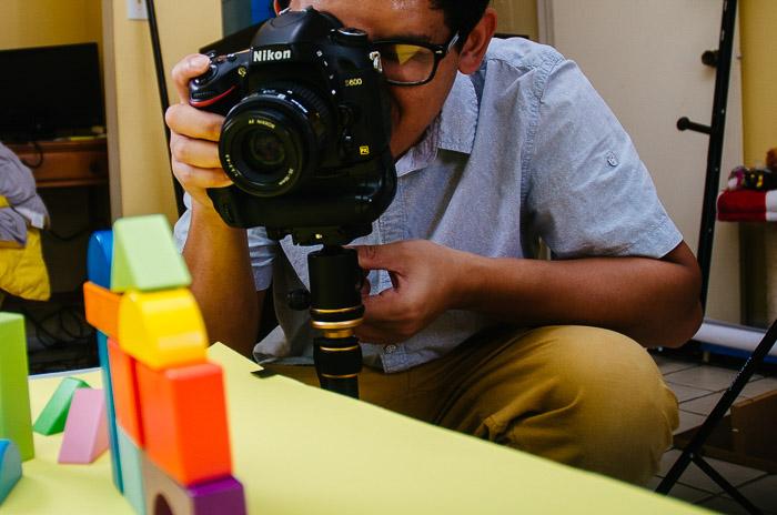 una configuración de estudio fotográfico casero