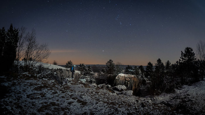 A stunning snowy landscape at night - cool fisheye photos