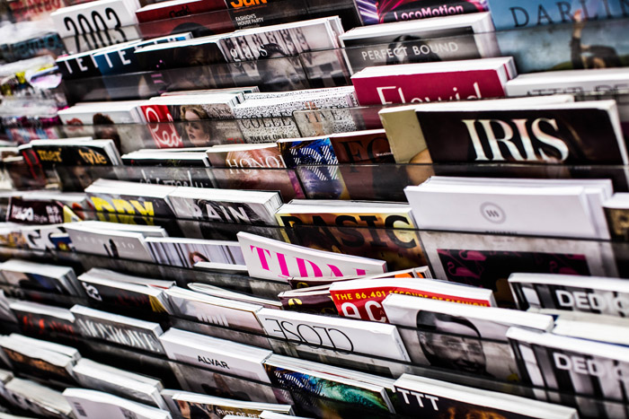racks of photography magazines in a store