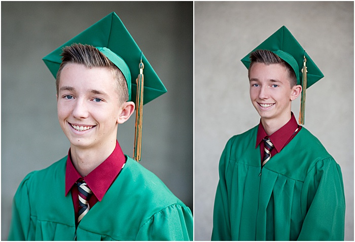 A graduation portrait of a schoolboy taken in a Natural light portable studio with client's cap and gown with a background.
