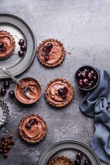 Stunning food photography flat lay of chocolate desserts