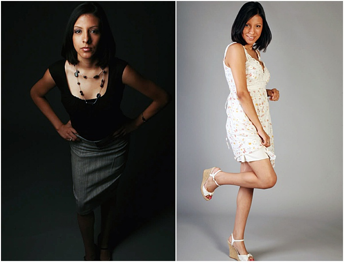 A diptych portrait of a female model taken in a portable photo studio