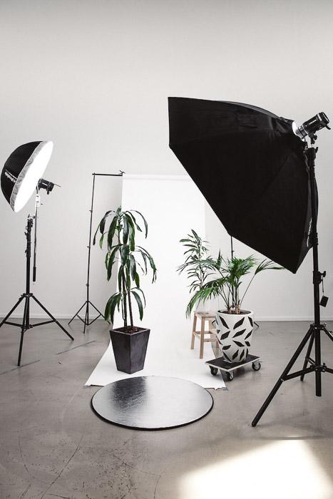 Studio lighting setup for a product photography business shoot
