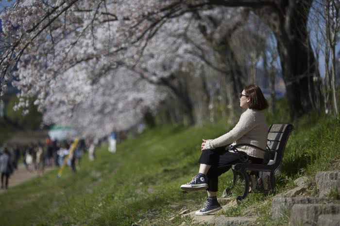 A woman sitting on a park bench looking off into the distance