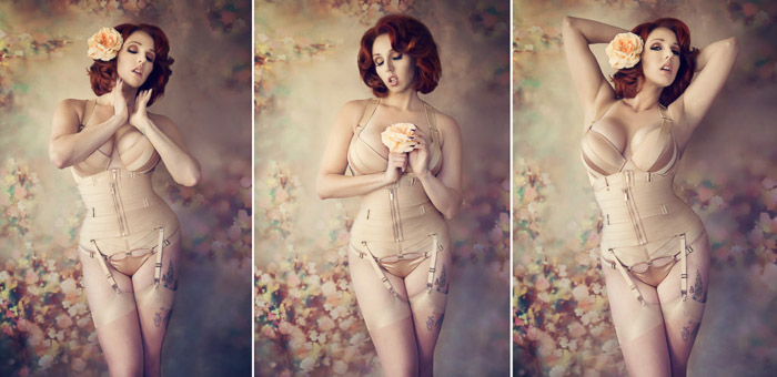 Sensual self portrait boudoir photography triptych of a female model posing in a lavish interior