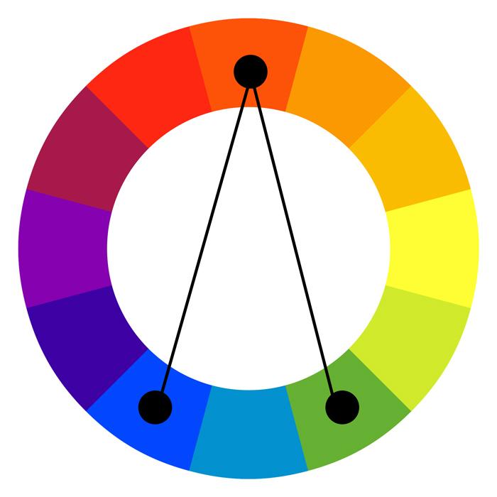 A split complementary color scheme