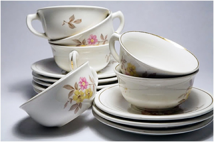 A still life of teacups taken in a portable photography studio