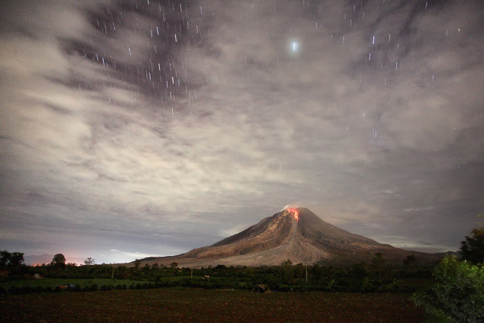 Mount Sinabung volcano in Indonesia. -volcano and lava photography