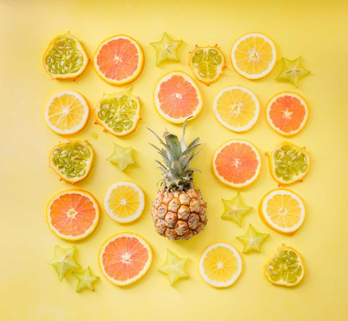 Cool summer themed still life featuring fruit