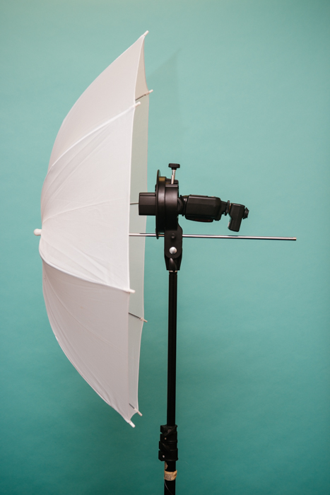A light source with umbrella for the 3 point lighting setup