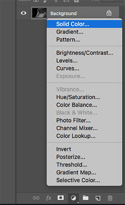 A screenshot showing how to colorize black and white photos in Photoshop - solid color