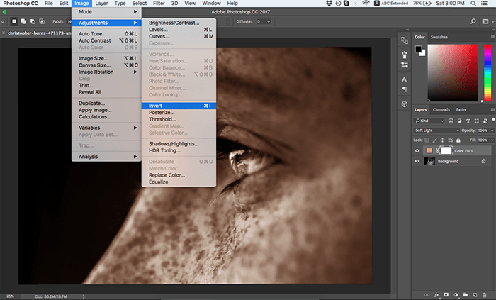 A screenshot showing how to colorize black and white photos in Photoshop - invert layer mask