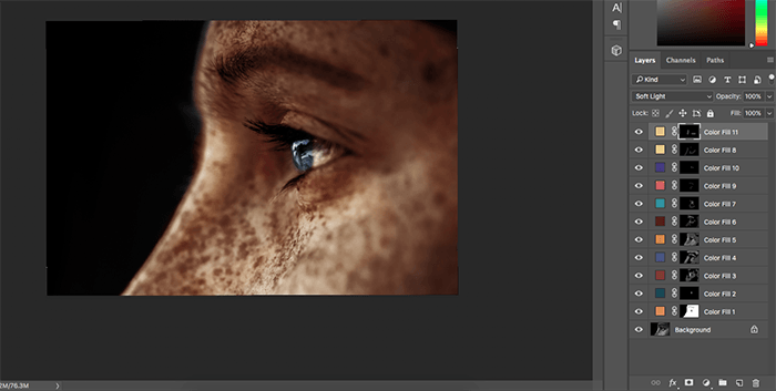 A screenshot showing how to colorize black and white photos in Photoshop - colors