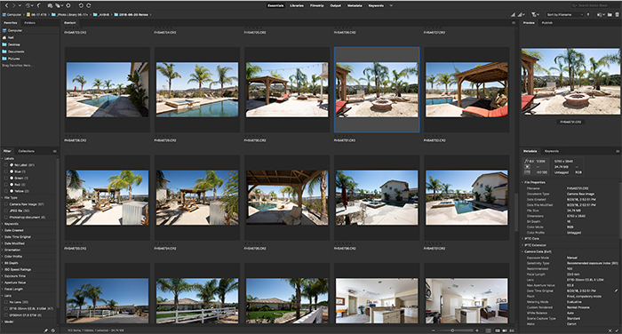 Screenshot of the Adobe Bridge home screen with metadata on the right column and folders and filters on the left column