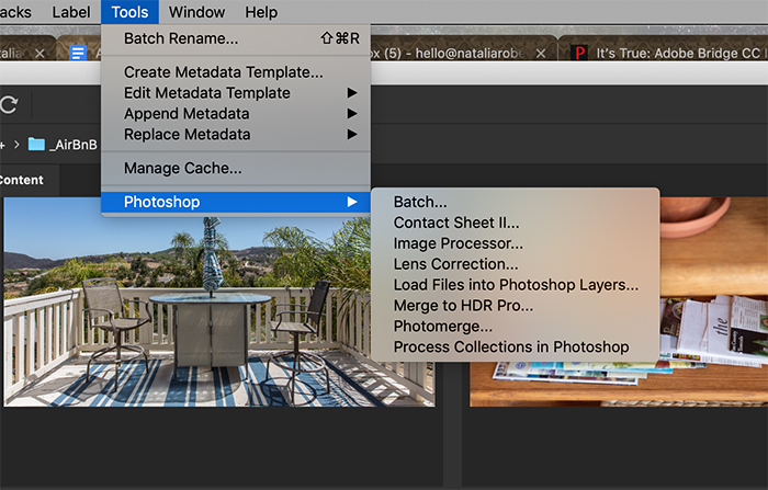 Screenshot showing how Adobe Bridge can send photos to Photoshop for certain edits.