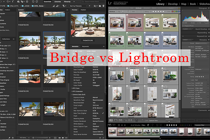A split screen of screenshots from adobe bridge vs lightroom