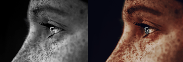 Diptych of a black and white portrait and a colorized version