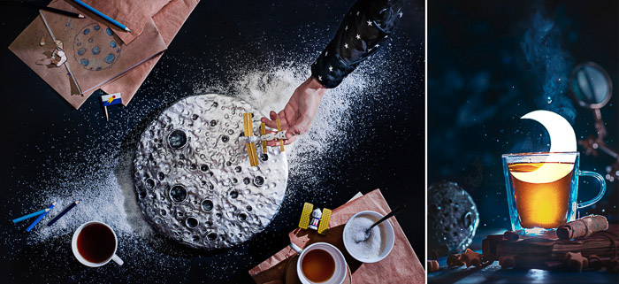 Creative outer space themed still life diptych shot with a speedlight